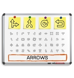 Arrows hand drawing line icons vector image