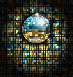 golden blue disco ball with light rays on mosaic vector image vector image
