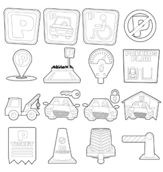 Parking icons set cartoon outline style vector