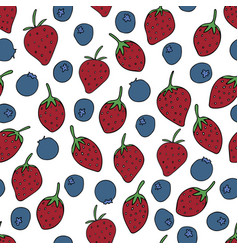 pattern with strawberries and blueberries vector image