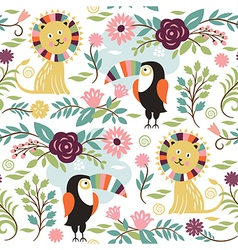 seamless pattern with lion and exotic birds vector image vector image