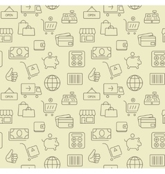 Shopping icons seamless background pattern vector image