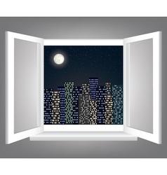 window and night city vector image