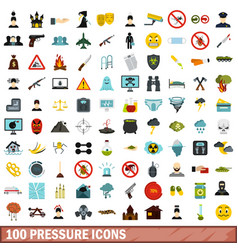 100 pressure icons set flat style vector image