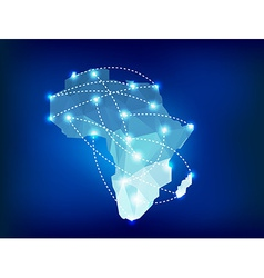 Africa map polygonal with spot lights places vector image