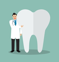 Dentist presenting the tooth vector image vector image