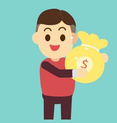 man get money bag man vector image vector image