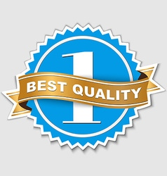 quality sticker with gold ribbon vector image vector image