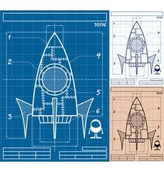 Rocket Blueprint Cartoon vector image vector image