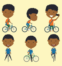 african american school boys on the bikes vector image vector image