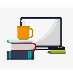 computer books pencil and cup coffee vector image