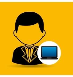 Laptop icon character man social media vector