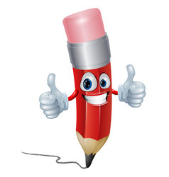 pencil mascot man vector image vector image