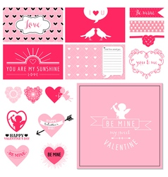 Scrapbook Design Set - Valentines Day Hearts vector image vector image