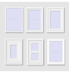 Set of white photo frames on the wall vector image