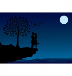 sunset kissing vector image
