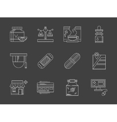 Web drugstore white flat line icons vector image vector image