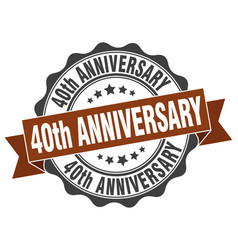 40th anniversary stamp sign seal vector