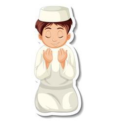 A sticker template with muslim boy praying vector