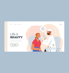 aesthetic cosmetology landing page template vector image