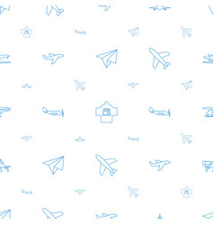 Aircraft icons pattern seamless white background vector