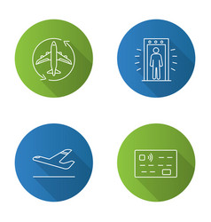 Airport service flat linear long shadow icons set vector