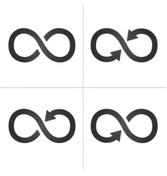 arrow infinity symbol icon set isolated on white vector image