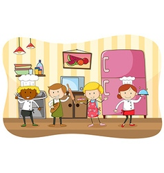 Bakers and chef working in the kitchen vector