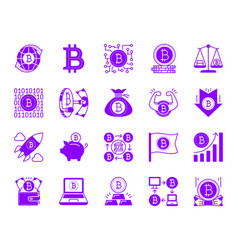 bitcoin color silhouette icons set vector image