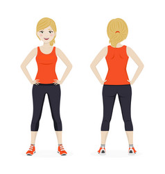 Blond woman playing sport with orange sportswear vector