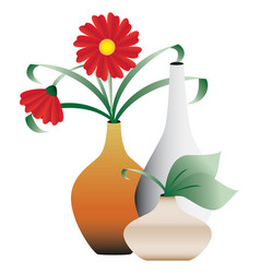 blossoming flowers in vases vector image