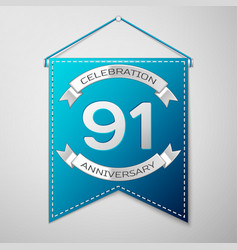blue pennant with inscription ninety one years vector image