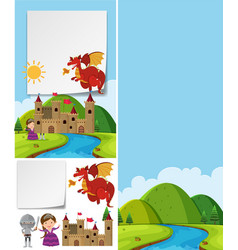Border template with red dragon over castle vector