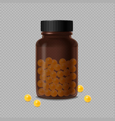 brown glass bottle with vitamin dragee vector image
