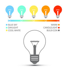 Bulbs with color temperature icons light symbols vector