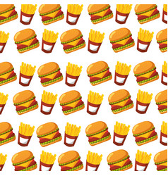 burger and french fries fast food seamless pattern vector image