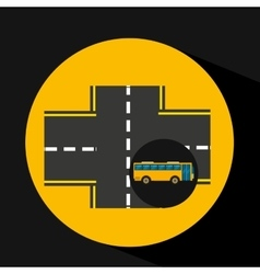 Bus transport public cross road vector