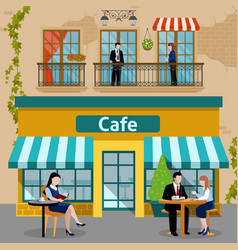 Business lunch people flat composition vector