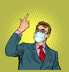 Businessman in a medical mask epidemic of vector