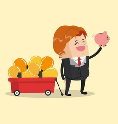 Businessman with piggy vector