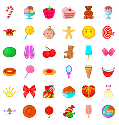 Cake icons set cartoon style vector