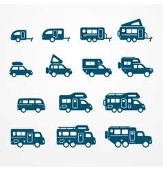 Camper icon set vector image