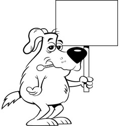 cartoon sick dog with a thermometer in his mouth w vector image