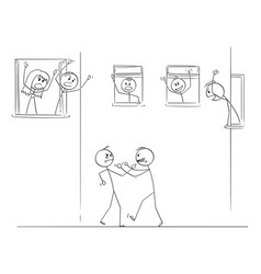 Cartoon two men fighting with fists on the vector