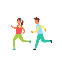 Children running one by another badge vector