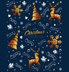 christmas and new year gold low poly ornament card vector image