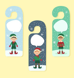 Christmas hanger greeting card elves elf boy vector