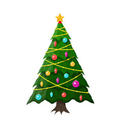 christmas tree decorated vector image