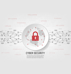 Closed padlock protect world global network vector