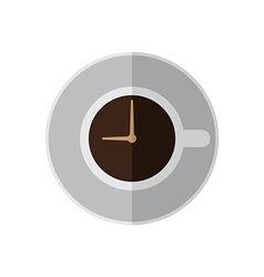 Coffee cup time top view vector image